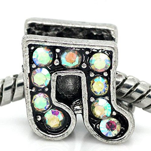 Rhinestone Music Note Charm Bead Spacer for Snake Charm Bracelets (Iridescent)
