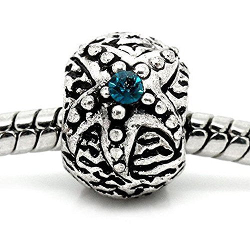 Aqua Rhinestone Flower Charm European Bead Compatible for Most European Snake Chain Bracelet