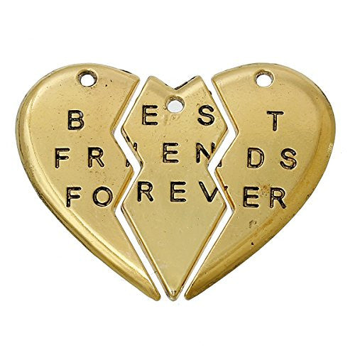 BFF Best Friends Forever 3pc Split Heart Pendant for Necklace