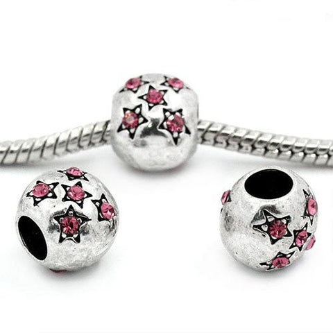 European Charm Beads Antique Silver Star Carved Pink Rhinestone - Sexy Sparkles Fashion Jewelry - 3