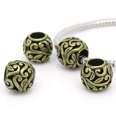 Bronze Flower Spacer European Bead Compatible for Most European Snake Chain Bracelets - Sexy Sparkles Fashion Jewelry - 2