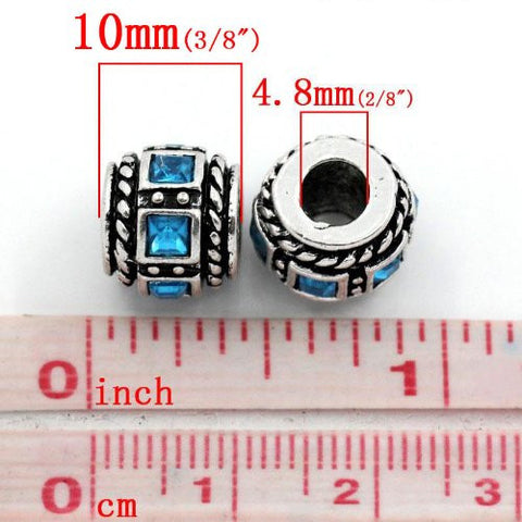 Aqua Squre Design Birthstone Charm Beads for Snake Chain Bracelets - Sexy Sparkles Fashion Jewelry - 2
