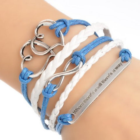 Braiding Leatheroid Wax Rope Bracelets Blue Antique Silver Infinity Symbol Double Hearts Message Carved - Sexy Sparkles Fashion Jewelry - 3