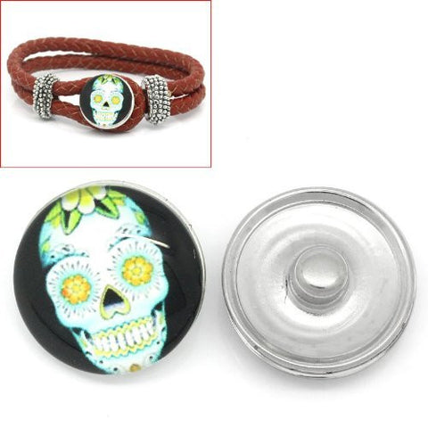 Skull Design Glass Chunk Charm Button Fits Chunk Bracelet 18mm for Noosa Style Chunk Leather Bracelet - Sexy Sparkles Fashion Jewelry - 4