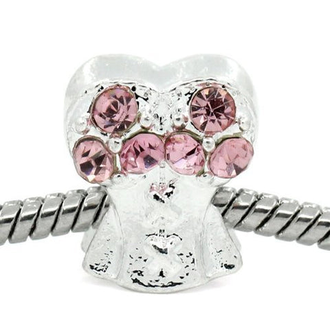 Pink Corset Top with Rhinestone Charm Bead Spacer For Snake Chain Bracelets - Sexy Sparkles Fashion Jewelry - 4