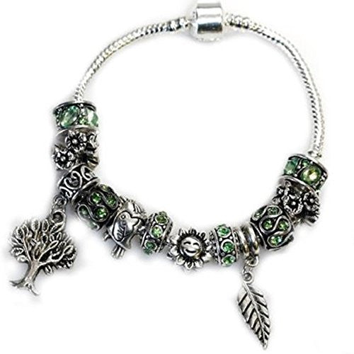 "7.5"" Mother Nature, Tree Charms, Bird Charms, Sun Charms and Leaf Charm with Peridot Green August Created Birthstone"