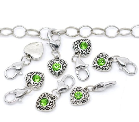 Heart  Antique Silver August Green  Rhinestone Clip On Charms. Fits Thomas Sabo 26x10mm, - Sexy Sparkles Fashion Jewelry - 2