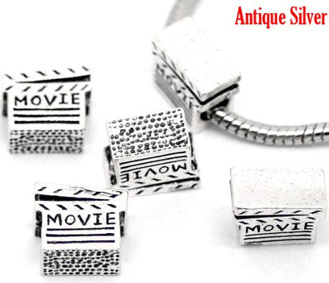 Movie Clapper Board Bead Charms for Snake Chain Charm Bracelet - Sexy Sparkles Fashion Jewelry - 2