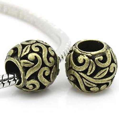 Bronze Flower Spacer European Bead Compatible for Most European Snake Chain Bracelets