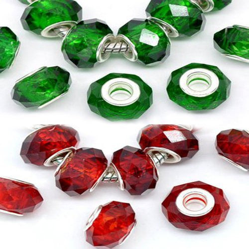 10 Merry Christmas Charms Faceted Red & Green Glass - Sexy Sparkles Fashion Jewelry - 1