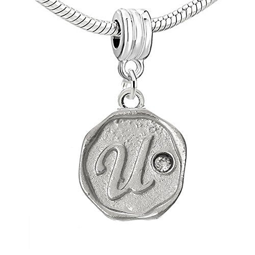 Alphabet Letter U Carved with Clear  Crystals Charm Dangle Bead Compatible with European Snake Chain Bracelets