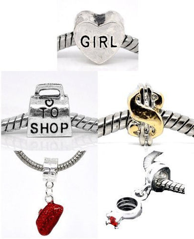 Set of 5 Charms Love to Shop Charm Beads For Snake Chain Bracelets - Sexy Sparkles Fashion Jewelry - 2