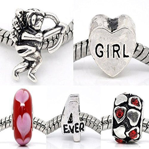5 Be My Valentine Love Heart Murano Glass Charm Beads For Snake Chain Bracelet - Sexy Sparkles Fashion Jewelry - 1