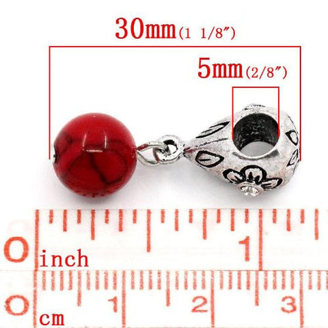 Red Dangle Ball with Rhinestones Bead Charm Spacer for Snake Chain Charm Bracelets - Sexy Sparkles Fashion Jewelry - 2