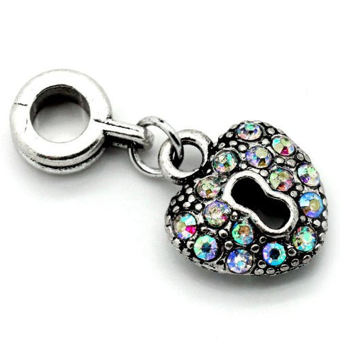 AB Crystals Heart Lock Dangle Charm Bead For Snake Chain Bracelets - Sexy Sparkles Fashion Jewelry - 2