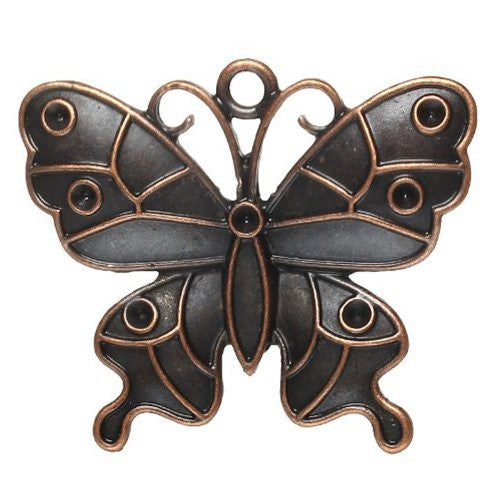 Antique Copper Butterfly Charm Pendant for Necklace - Sexy Sparkles Fashion Jewelry - 1