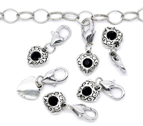 Antique Silver Black Rhinestone Heart Clip On Charms. Fits Thomas Sabo 26x10mm, - Sexy Sparkles Fashion Jewelry - 3