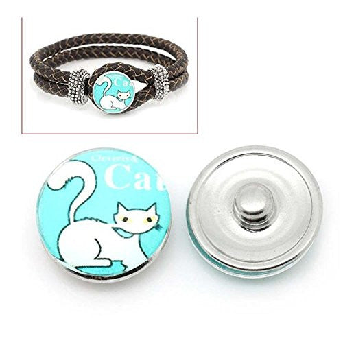 Siamese Cat Design Glass Chunk Charm Button Fits Chunk Bracelet