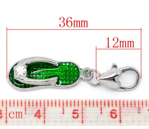 Clip on Green Flip Flop Shoe Pendant for European Jewelry w/ Lobster Clasp - Sexy Sparkles Fashion Jewelry - 2