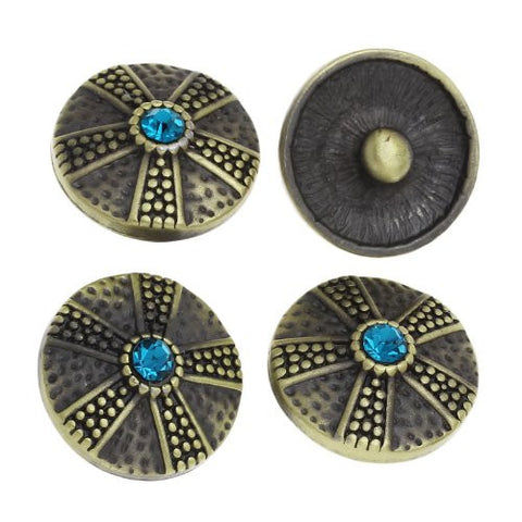 Chunk Snap Buttons Fit Chunk Bracelet Round Antique Bronze Flower Pattern Carved Lake Blue Rhinestone 20mm - Sexy Sparkles Fashion Jewelry - 4