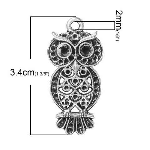 Antique Silver Plated Owl Charm Pendant for Necklace - Sexy Sparkles Fashion Jewelry - 2