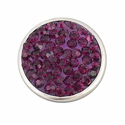 Purple Crystals Chunk Snap Jewelry Button Round Silver Tone Fit Chunk Bracelets