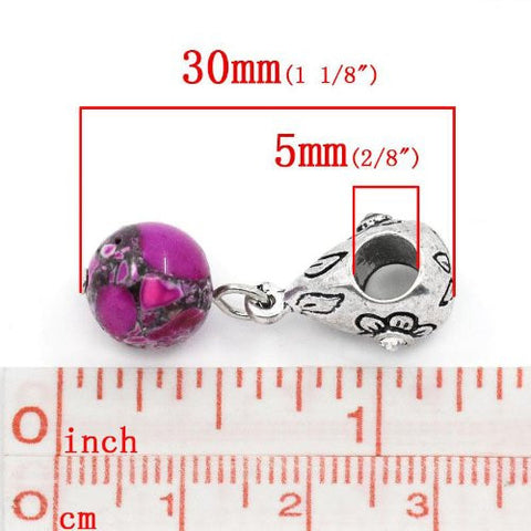 Fuchsia Dangle Ball with Rhinestones Bead Charm Spacer for Snake Chain Charm Bracelets - Sexy Sparkles Fashion Jewelry - 2