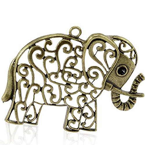 Antique Bronze Hollow Elephant Animal Charm Pendant for Necklace - Sexy Sparkles Fashion Jewelry - 1