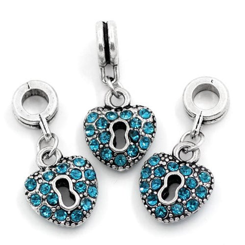 Aqua Crystals Heart Lock Dangle Charm Bead For Snake Chain Bracelets - Sexy Sparkles Fashion Jewelry - 2