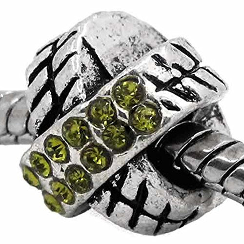 X Design W/august Peridot Light Green Birthstone  Crystals European Bead Compatible for Most European Snake Chain Charm Bracelet