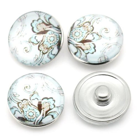 Vintage Pattern Glass Chunk Charm Button Fits Chunk Bracelet 18mm - Sexy Sparkles Fashion Jewelry - 3