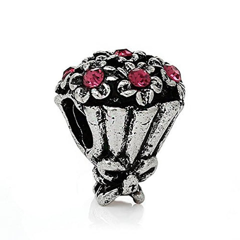 Bouquet of Flowers Charm For Most European Snake Chain Bracelet - Sexy Sparkles Fashion Jewelry - 1