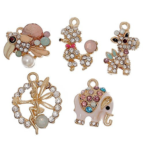 5 Mixed Charm Pendants Elephant, Fairy, Giraffe, Poodle and Parrot for Bracelet or Necklace - Sexy Sparkles Fashion Jewelry - 1