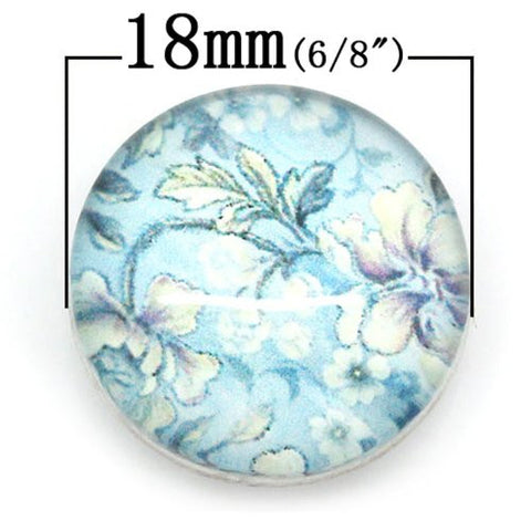 Flower Design Glass Chunk Charm Button Fits Chunk Bracelet 18mm for Noosa Style Bracelet - Sexy Sparkles Fashion Jewelry - 2