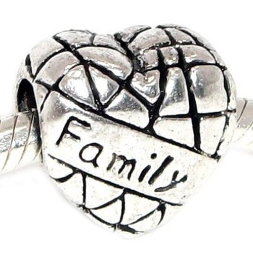 Family Heart Bead Charms for Snake Chain Bracelet (Family)