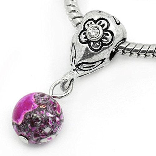 Fuchsia Dangle Ball with Rhinestones Bead Charm Spacer for Snake Chain Charm Bracelets