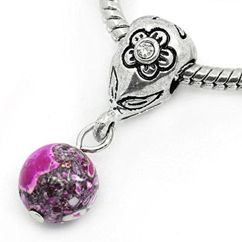 Fuchsia Dangle Ball with Rhinestones Bead Charm Spacer for Snake Chain Charm Bracelets - Sexy Sparkles Fashion Jewelry - 1