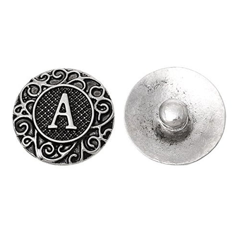 Alphabet Letter A Chunk Snap Button or Pendant Fits Snaps Chunk Bracelet - Sexy Sparkles Fashion Jewelry - 1