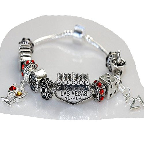 "8"" Viva Las Vegas Theme Charm with 12 Charms, Pocker Cards,Casino Chips,Dice,Martini Glass & Crystals charm beads, For Snake Chain Bracelets"