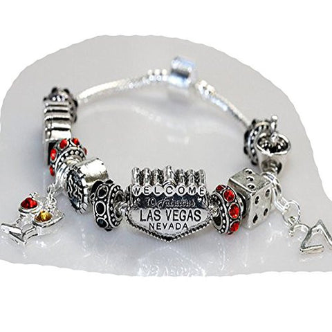 "9"" Viva Las Vegas Theme Charm with 12 Charms, Pocker Cards,Casino Chips,Dice,Martini Glass & Crystals charm beads, For Snake Chain Bracelets - Sexy Sparkles Fashion Jewelry - 1"