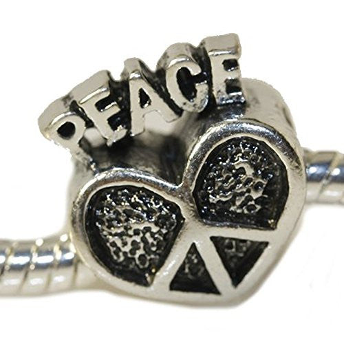 Peace Heart European Bead Compatible for Most European Snake Chain Charm Bracelet
