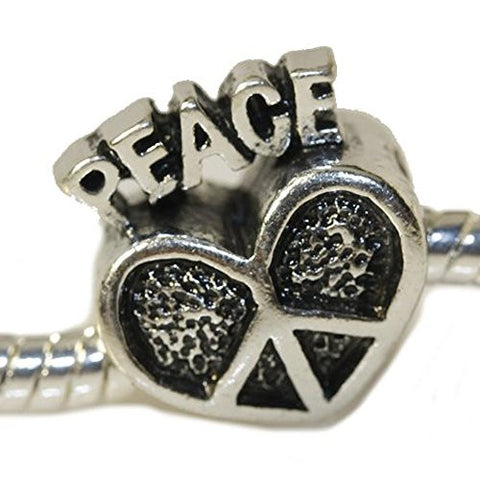 Peace Heart European Bead Compatible for Most European Snake Chain Charm Bracelet - Sexy Sparkles Fashion Jewelry - 1