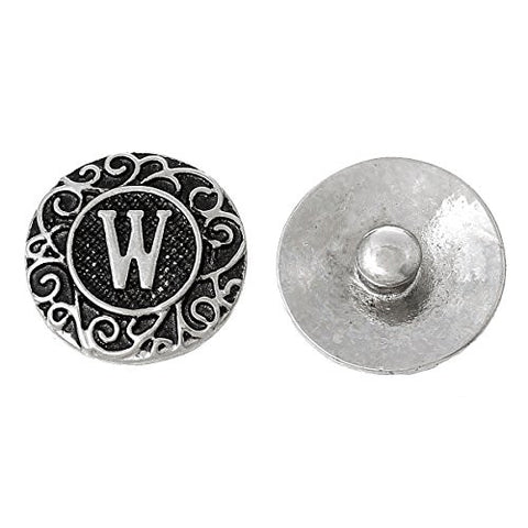 Alphabet Letter W Chunk Snap Button or Pendant Fits Snaps Chunk Bracelet - Sexy Sparkles Fashion Jewelry - 1