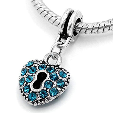 Aqua Crystals Heart Lock Dangle Charm Bead For Snake Chain Bracelets - Sexy Sparkles Fashion Jewelry - 1