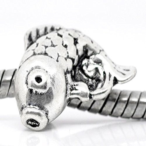 Carp fish European Bead Compatible for Most European Snake Chain Charm Bracelets