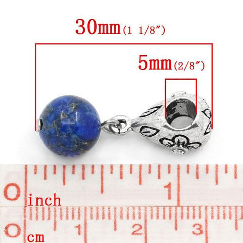 Royal Blue Dangle Ball with Rhinestones Bead Charm Spacer for Snake Chain Charm Bracelets - Sexy Sparkles Fashion Jewelry - 2