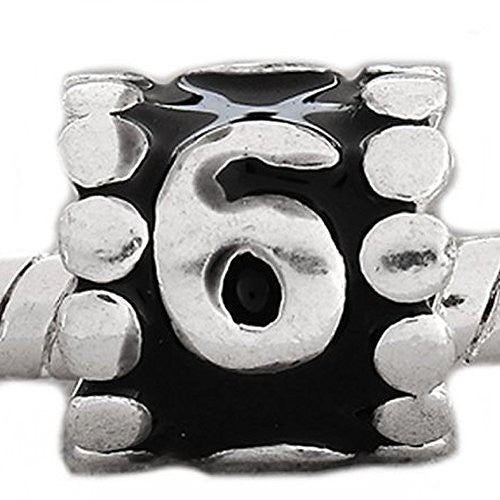"Black Enamel Number Charm Bead  ""6"" European Bead Compatible for Most European Snake Chain Charm Bracelets - Sexy Sparkles Fashion Jewelry - 1"