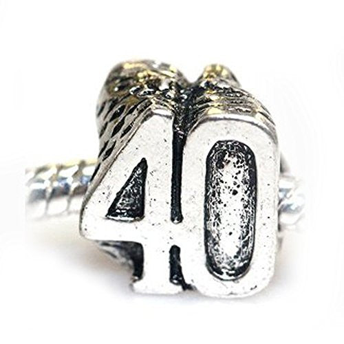 40th Birthday Charm European Bead Compatible for Most European Snake Chain Bracelet
