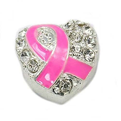Pink Awarness Ribbon Heart with  Crystals European Bead Compatible for Most European Snake Chain Charm Bracelet