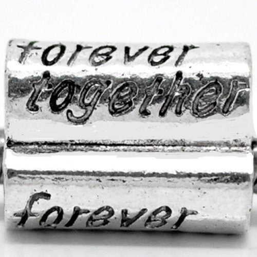 3 sided Forever Together Bead Charm Spacer For Snake Chain Charm Bracelet